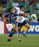 Pablo Mastroeni and Michael Ballack battle for the ball. The USA lost to Germany 1-0 in the Quarterfinals of the FIFA World Cup 2002 in South Korea on June 21, 2002.