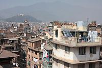 Kathmandu, Nepal.  Looking Over City Rooftops Towards Swayambhunath Temple.