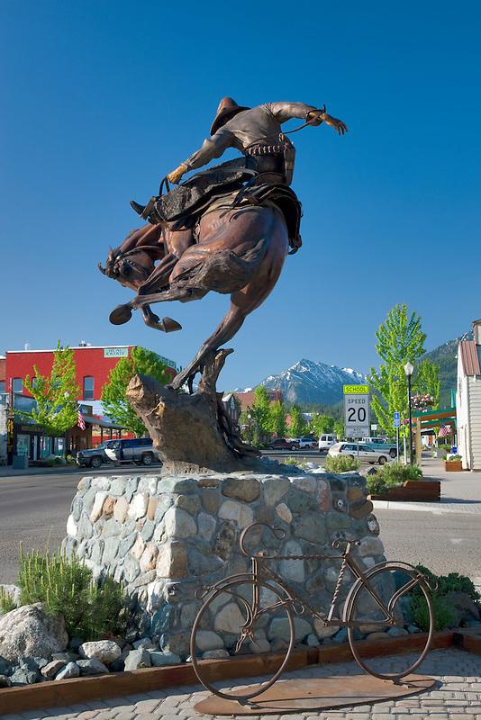 Downtown Joseph, Oregon with Wallowa Mountains.