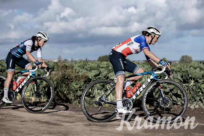 French National Champion Audrey Cordon Ragot (FRA/Trek-Segafredo) leading a chase group over the plugstreet gravel section<br /> <br /> 9th Gent-Wevelgem in Flanders Fields 2020<br /> Elite Womens Race (1.WWT)<br /> <br /> One Day Race from Ypres (Ieper) to Wevelgem 141km<br /> <br /> ©kramon