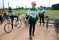 13 SEP 2014 - IPSWICH, GBR - Craig Nethercott from Exeter Aces waits in the pits for the start of the 2014 British Open Club Cycle Speedway Championships at Whitton Sports & Community Centre in Ipswich, Great Britain (PHOTO COPYRIGHT © 2014 NIGEL FARROW, ALL RIGHTS RESERVED)