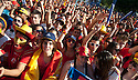 01/07/2012. Madrid. España.  Parking Santiago Bernabeu. Fun Zone. Pantalla gigantel instalada para la Eurocopa Polonia Ucrania 2012. Final: España vs Italia. Ambiente Previo a la final. (C) Eduado Dieguez/ DyD Fotografos/ zenitimages