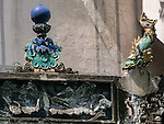 The precious pearl finial and a dragon fish on the roof ridge of Litt Shing Kung.