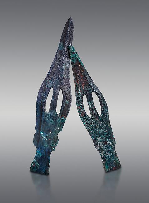 Hittite bronze spear heads. Hittite Period 1650 - 1450 BC, Ortakoy Sapinuva . Çorum Archaeological Museum, Corum, Turkey