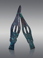 Hittite bronze spear heads. Hittite Period 1650 - 1450 BC, Ortakoy Sapinuva . Çorum Archaeological Museum, Corum, Turkey