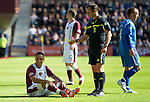 Hearts v St Johnstone...14.08.10  .Suso Santana is booked for diving by ref Stevie O'Reilly.Picture by Graeme Hart..Copyright Perthshire Picture Agency.Tel: 01738 623350  Mobile: 07990 594431