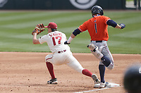 Arkansas infielder Brady Slavens (17) tags out Auburn outfielder Judd Ward (1), Saturday, April 3, 2021 during the third inning of a baseball game at Baum-Walker Stadium in Fayetteville. Check out nwaonline.com/210404Daily/ for today's photo gallery. <br /> (NWA Democrat-Gazette/Charlie Kaijo)