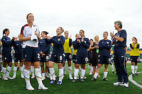 Abby Wambach (20) of the United States (USA) watches a video saluting her 100 career goals for the national team.  The United States (USA) Women's National Team defeated Canada (CAN) 1-0 during an international friendly at Marina Auto Stadium in Rochester, NY, on July 19, 2009.