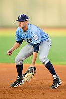 Wilmington Blue Rocks first baseman Jared Schlehuber (41) on defense against the Winston-Salem Dash at BB&T Ballpark on August 3, 2013 in Winston-Salem, North Carolina.  The Blue Rocks defeated the Dash 4-2.  (Brian Westerholt/Four Seam Images)