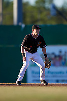 Batavia Muckdogs second baseman Luke Jarvis (8) during a game against the State College Spikes on July 7, 2018 at Dwyer Stadium in Batavia, New York.  State College defeated Batavia 7-4.  (Mike Janes/Four Seam Images)