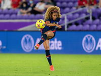 ORLANDO, FL - FEBRUARY 24: Casey Krueger #2 of the USWNT crosses the ball during a game between Argentina and USWNT at Exploria Stadium on February 24, 2021 in Orlando, Florida.