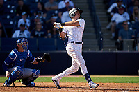 New York Yankees Ben Ruta (97) hits a double during a Spring Training game against the Toronto Blue Jays on February 22, 2020 at the George M. Steinbrenner Field in Tampa, Florida.  (Mike Janes/Four Seam Images)