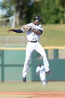 Peoria Javelinas shortstop Lucius Fox (5), of the Tampa Bay Rays organization, leaps to catch a throw on a stolen base attempt during the Arizona Fall League Championship game against the Salt River Rafters at Scottsdale Stadium on November 17, 2018 in Scottsdale, Arizona. Peoria defeated Salt River 3-2 in 10 innings. (Zachary Lucy/Four Seam Images)