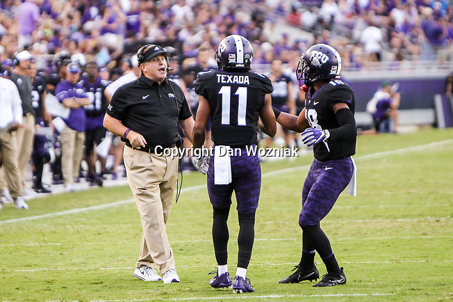 TCU Horned Frogs wide receiver Dylan Thomas (11)) in action during the game between the Jackson State Tigers and the TCU Horned Frogs at the Amon G. Carter Stadium in Fort Worth, Texas.