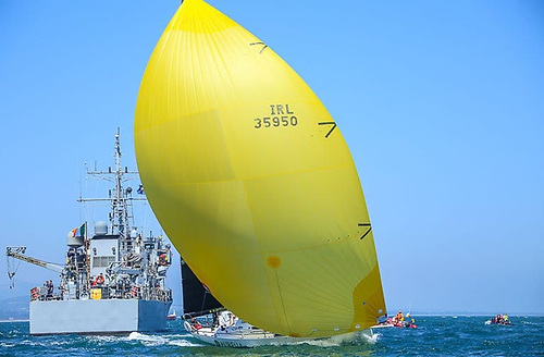 The J/122 Aurelia from Dun Laoghaire (seen here starting the Round Ireland race) maintained long-established cross-channel links by winning the 100th Isle of Man Race from Liverpool in 2019