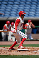 Clearwater Threshers shortstop Arquimedes Gamboa (7) follows through on a swing during a game against the Jupiter Hammerheads on April 11, 2018 at Spectrum Field in Clearwater, Florida.  Jupiter defeated Clearwater 6-4.  (Mike Janes/Four Seam Images)