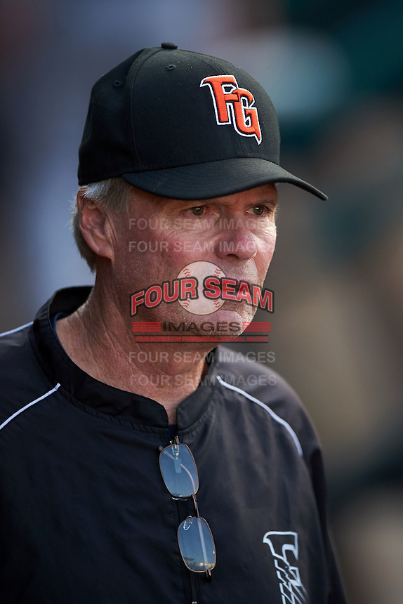 Fresno Grizzles pitching coach Ace Adams (18) in the dugout during a game against the Oklahoma City Dodgers on June 1, 2015 at Chickasaw Bricktown Ballpark in Oklahoma City, Oklahoma.  Fresno defeated Oklahoma City 14-1.  (Mike Janes/Four Seam Images)