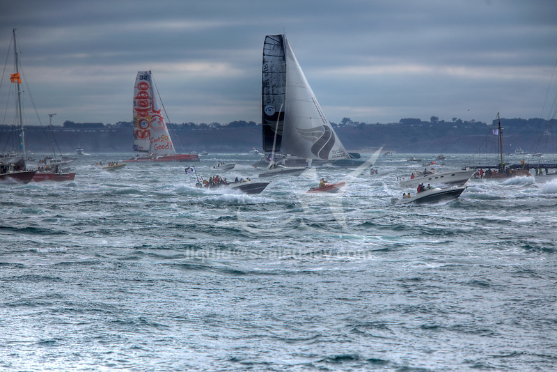 Start of the Route du Rhum La Banque Postale 2010..The Route du Rhum is a transatlantic single-handed yacht race, which takes places every 4 years in November. The course is between Saint Malo, Brittany, France and Pointe-à-Pitre, Guadeloupe.