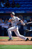 Army West Point first baseman John McKenna (21) at bat during a game against the Michigan Wolverines on February 17, 2018 at First Data Field in St. Lucie, Florida.  Army defeated Michigan 4-3.  (Mike Janes/Four Seam Images)