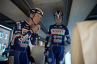 Winner of the Amstel Gold Race just a few days earlier, Enrico Gasparotto (ITA/Wanty-Groupe Gobert) prepares for the race in the teambus<br /> <br /> Flèche Wallonne 2016