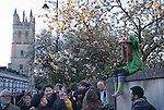 Oxford Uk. Wednesday 1st May 2013. Oxford University students and May Day revellers celebrate May Day at dawn. Choristers sing from the top of Magdalen College church tower.