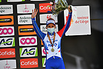 David Gaudu (FRA) Groupama-FDJ in 3rd place on the podium at the end of the 107th edition of Liege-Bastogne-Liege 2021, running 259.1km from Liege to Liege, Belgium. 25th April 221.  <br /> Picture: Serge Waldbillig | Cyclefile<br /> <br /> All photos usage must carry mandatory copyright credit (© Cyclefile | Serge Waldbillig)
