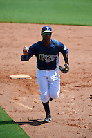 GCL Rays shortstop Adrian Rondon (3) chases a baserunner back to first in a rundown during the first game of a doubleheader against the GCL Red Sox on August 4, 2015 at Charlotte Sports Park in Port Charlotte, Florida.  GCL Red Sox defeated the GCL Rays 10-2.  (Mike Janes/Four Seam Images)