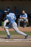 Tim Fedroff (16) of the North Carolina Tar Heels follows through on his swing versus the versus the St. John's Red Storm at the 2008 Coca-Cola Classic at the Winthrop Ballpark in Rock Hill, SC, Sunday, March 2, 2008.