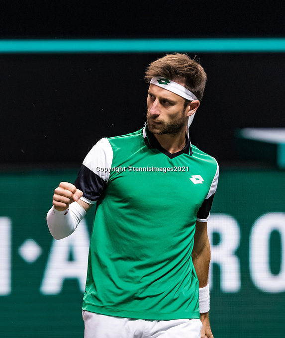 Rotterdam, The Netherlands, 3 march  2021, ABNAMRO World Tennis Tournament, Ahoy, First round doubles: Sander Giller (BEL) / Joran Vliegen (BEL).<br /> Photo: www.tennisimages.com/henkkoster