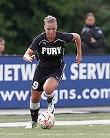 New York Fury forward Merritt Mathias (9) on the attack. In a Women's Premier Soccer League Elite (WPSL) match, the Boston Breakers defeated New York Fury, 2-0, at Dilboy Stadium on June 23, 2012.