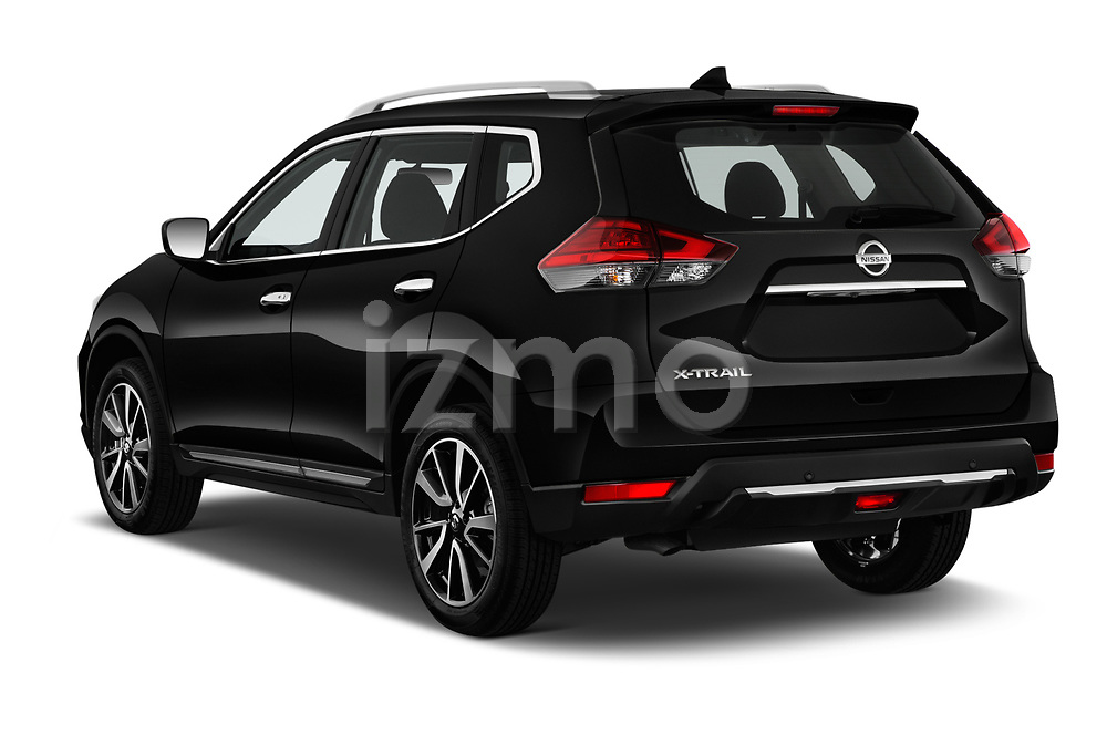 Car pictures of rear three quarter view of a 2019 Nissan X-Trail Tekna 5 Door SUV angular rear
