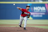 Carolina Mudcats starting pitcher Jhoan Cruz (25) in action against the Kannapolis Cannon Ballers at Atrium Health Ballpark on June 10, 2021 in Kannapolis, North Carolina. (Brian Westerholt/Four Seam Images)