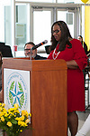 HISD Interim Superintendent of Schools, Dr. Grenita Lathan, speaking at Grand Opening of Sharpstown HS new school building. May 3, 2018.