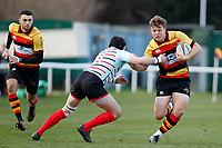 Morgan Ward of Richmond Rugby with the ball during the English National League match between Richmond and Blackheath  at Richmond Athletic Ground, Richmond, United Kingdom on 4 January 2020. Photo by Carlton Myrie.