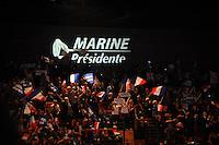 05 fÈvrier 2017, Palais des CongrËs, Lyon - Meeting de Marine Le Pen ‡ Lyon. Militants agitant leurs drapeaux. # MEETING DE MARINE LE PEN A LYON