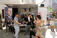 Campaign booth for the AKP political party leading up to the 2011 Turkish general election in Pendik, Istanbul, Turkey