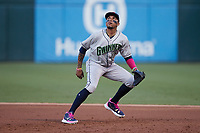 Gwinnett Stripers first baseman Johan Camargo (17) on defense against the Charlotte Knights at Truist Field on July 17, 2021 in Charlotte, North Carolina. (Brian Westerholt/Four Seam Images)