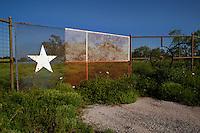 Texas Lone Star Flag Design on Metal Fence