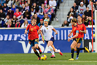 HARRISON, NJ - MARCH 08: Julie Ertz #8 of the United States is marked by Patri Guijarro #12 of Spain during a game between Spain and USWNT at Red Bull Arena on March 08, 2020 in Harrison, New Jersey.