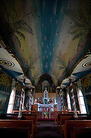 Interior of St. Benedict's Roman Catholic Painted Church in Captain Cook, Hawaii
