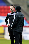 St Johnstone Training...06.05.21<br />First team coach Steven MacLean pictured talking with manager Callum Davidson during training at McDiarmid Park ahead of Sundays Scottish Cup semi-final against St Mirren.<br />Picture by Graeme Hart.<br />Copyright Perthshire Picture Agency<br />Tel: 01738 623350  Mobile: 07990 594431