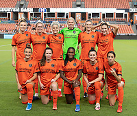 HOUSTON, TX - SEPTEMBER 10: The Houston Dash Starting XI pose for a photo before a game between Chicago Red Stars and Houston Dash at BBVA Stadium on September 10, 2021 in Houston, Texas.