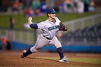 Cedar Rapids Kernels relief pitcher Tom Hackimer (17) delivers a pitch during a game against the Dayton Dragons on May 10, 2017 at Fifth Third Field in Dayton, Ohio.  Cedar Rapids defeated Dayton 6-5 in ten innings.  (Mike Janes/Four Seam Images)