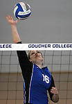 Marymount University's Johanna Hummel plays in college volleyball action at Goucher College in Towson, MD, on Saturday, Oct. 8, 2011..Photo by Cathleen Aliison
