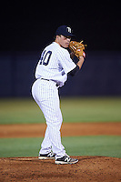 Tampa Yankees relief pitcher Jacob Lindgren (40) gets ready to deliver a pitch during a game against the Bradenton Marauders on April 11, 2016 at George M. Steinbrenner Field in Tampa, Florida.  Tampa defeated Bradenton 5-2.  (Mike Janes/Four Seam Images)