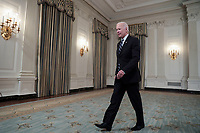 United States President Joe Biden departs after delivering remarks on his robust plan to stop the spread of the Delta variant and boost COVID-19 vaccinations in the State Dining Room of the White House on September 9, 2021 in Washington, DC.<br /> CAP/MPI/RS<br /> ©RS/MPI/Capital Pictures