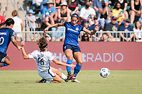CARY, NC - SEPTEMBER 12: Angela Salem #36 of the Portland Thorns tackles the ball away from Lynn Williams #9 of the NC Courage] during a game between Portland Thorns FC and North Carolina Courage at Sahlen's Stadium at WakeMed Soccer Park on September 12, 2021 in Cary, North Carolina.