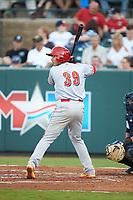 Raul Juarez (39) of the Greeneville Reds at bat against the Pulaski Yankees at Calfee Park on June 23, 2018 in Pulaski, Virginia. The Reds defeated the Yankees 6-5.  (Brian Westerholt/Four Seam Images)