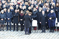 Le President de la Republique Emmanuel Macron - Sa petite-fille Marie-Sarah, sa fille Heloise d'Ormesson et et sa femme FranÁoise BÈghin - Hommage National ‡ JEAN D'ORMESSON - 08/12/2017 - Hotel des Invalides - Paris - France