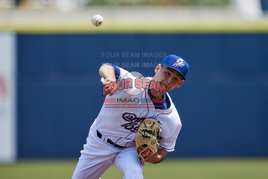 Kannapolis Cannon Ballers starting pitcher Andrew Dalquist (20) in action against the Down East Wood Ducks at Atrium Health Ballpark on May 9, 2021 in Kannapolis, North Carolina. (Brian Westerholt/Four Seam Images)